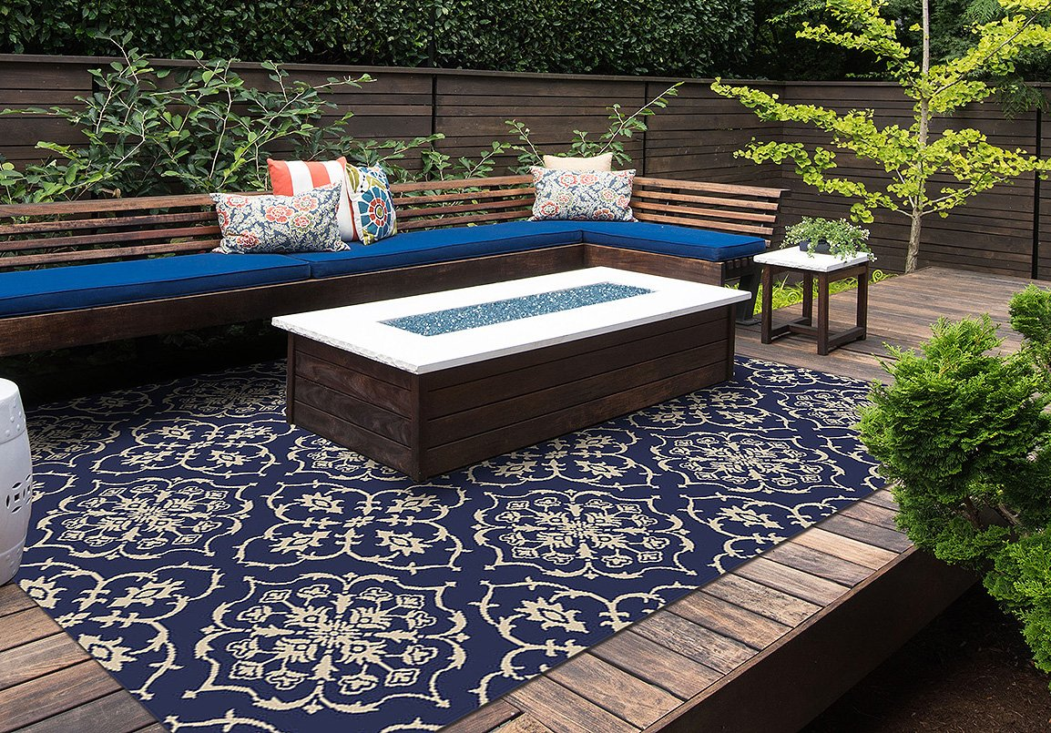 Brown Jordan Prime Label Patio Furniture Rug 9x12 Neptune Collection Sisal Modern Navy Outdoor Rugs, Blue, XL