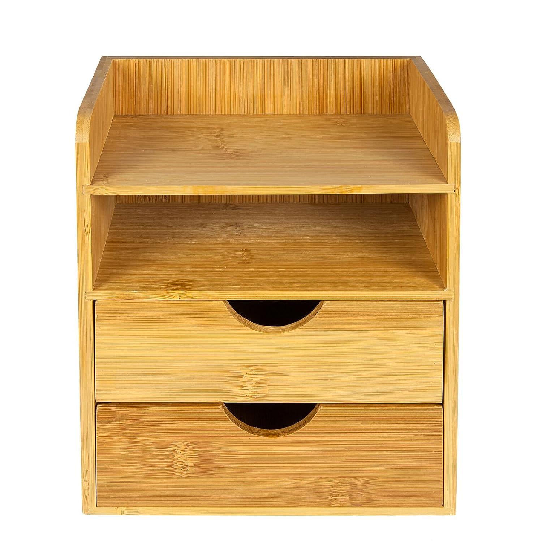 perfecto para guardar material de oficina Miniorganizador para escritorios Woodluv con 2 estantes y 2 cajones