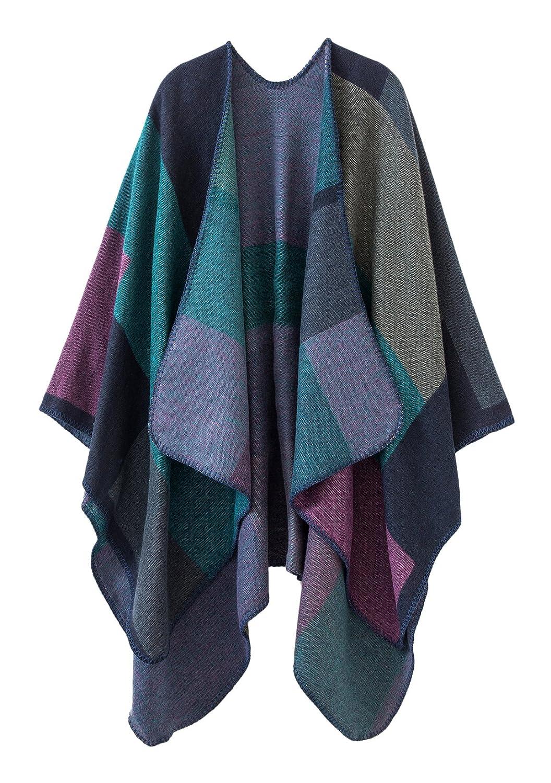 8a4863dff2adc Urban CoCo Women s Color Block Shawl Wrap Open Front Poncho Cape (purple)   Amazon.in  Clothing   Accessories