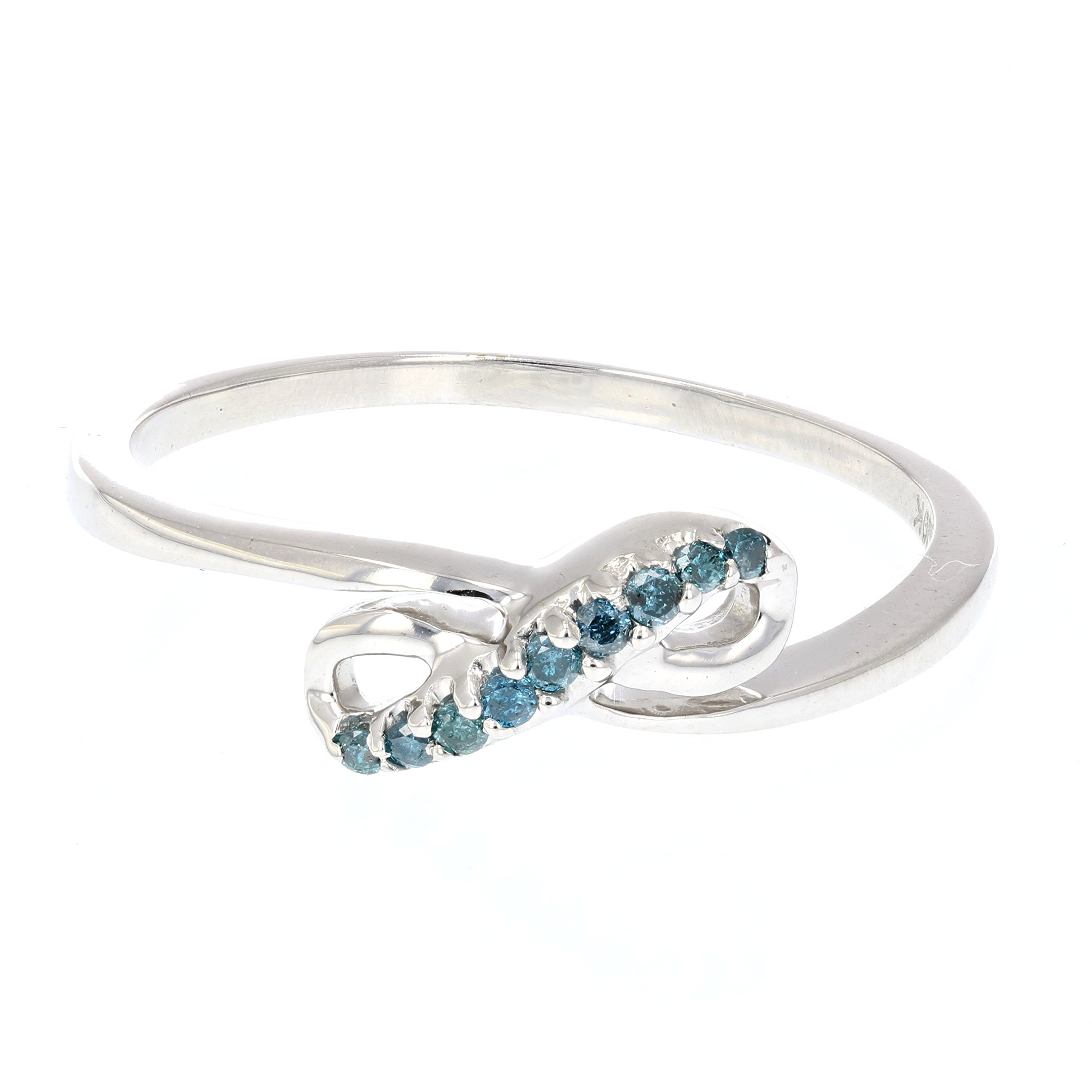 0.07 CT Blue Diamond Ring 10K White Gold Size 7