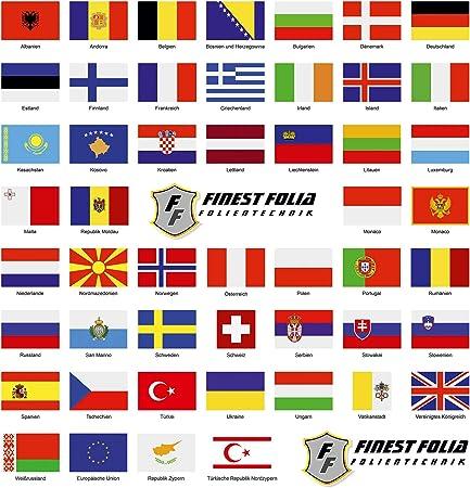 Finest Folia 50 Länderfahnen Flaggen Set Auf 2 Din A4 Bögen Jede Fahne 4 9x3 3cm Aufkleber Sticker Für Modellbau Fahrrad Auto Motorrad Deko Länder Europa R108 Auto