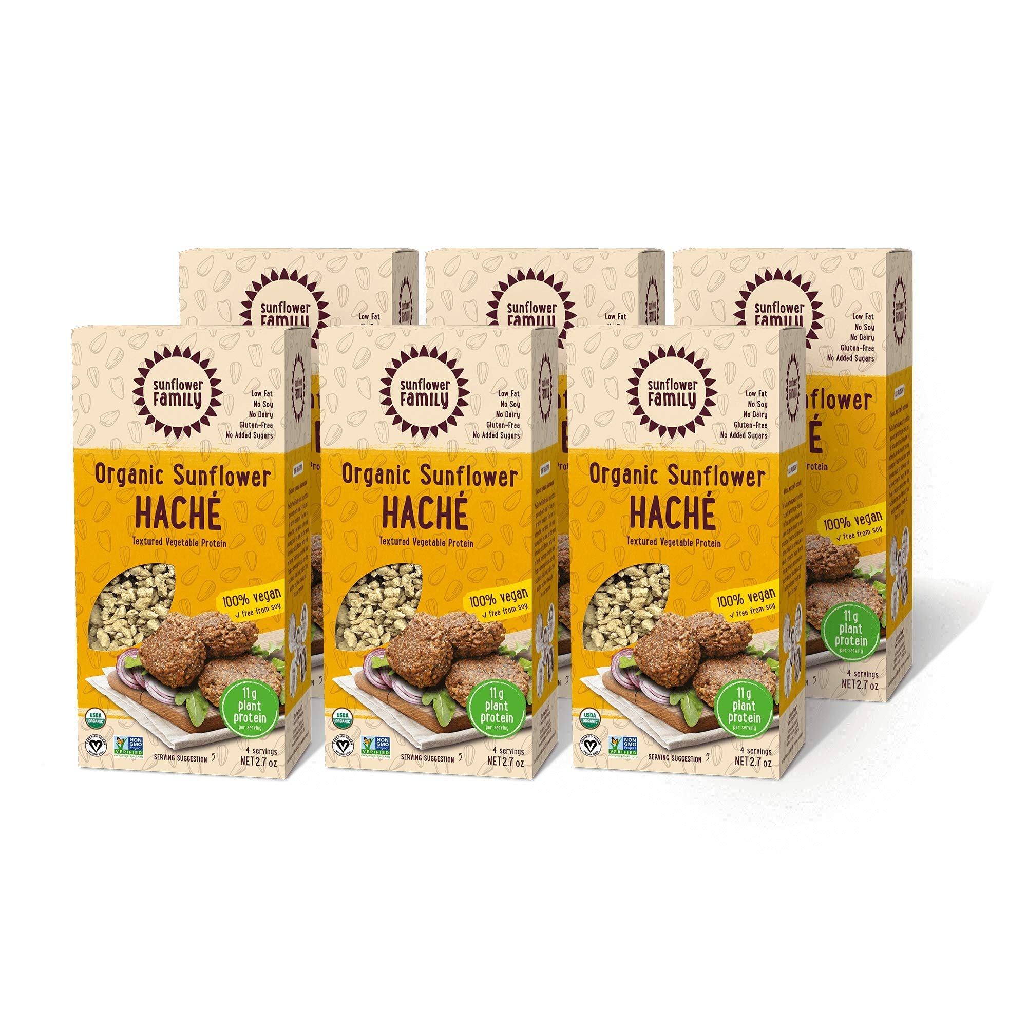 6-Pack Organic Sunflower Haché - Single-Ingredient Meat Substitute - Gluten, Soy and Dairy Free
