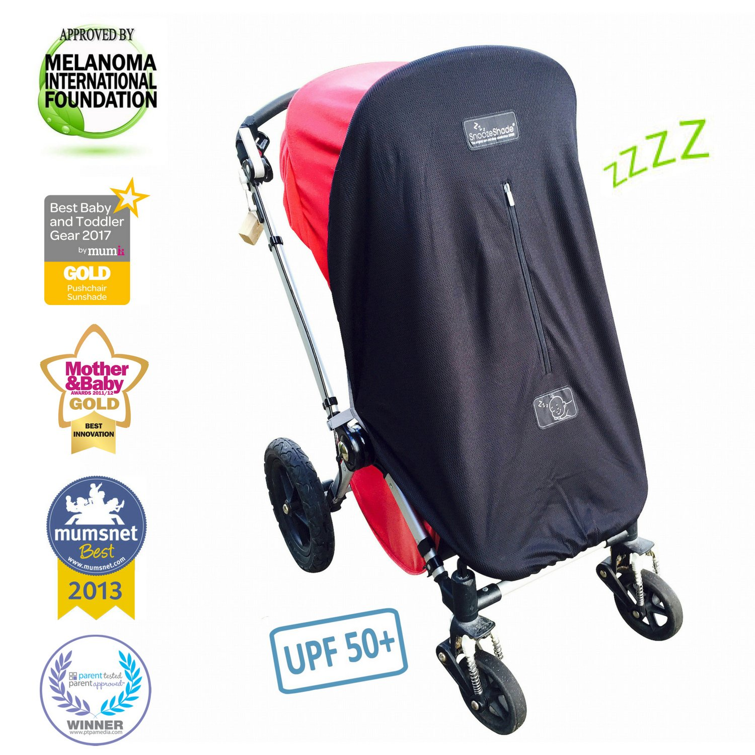 Baby Sun Shade and Blackout Blind for Strollers   Blocks 99% of UV   Breathable and Universal fit   SnoozeShade Original - Limited Edition (Gray Trim)