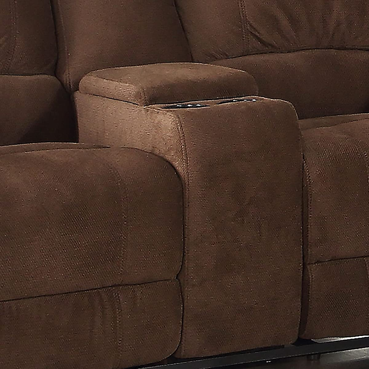 AC Pacific Kevin Collection Contemporary Upholstered Reclining Loveseat with Storage Console and Cup Holders, Brown