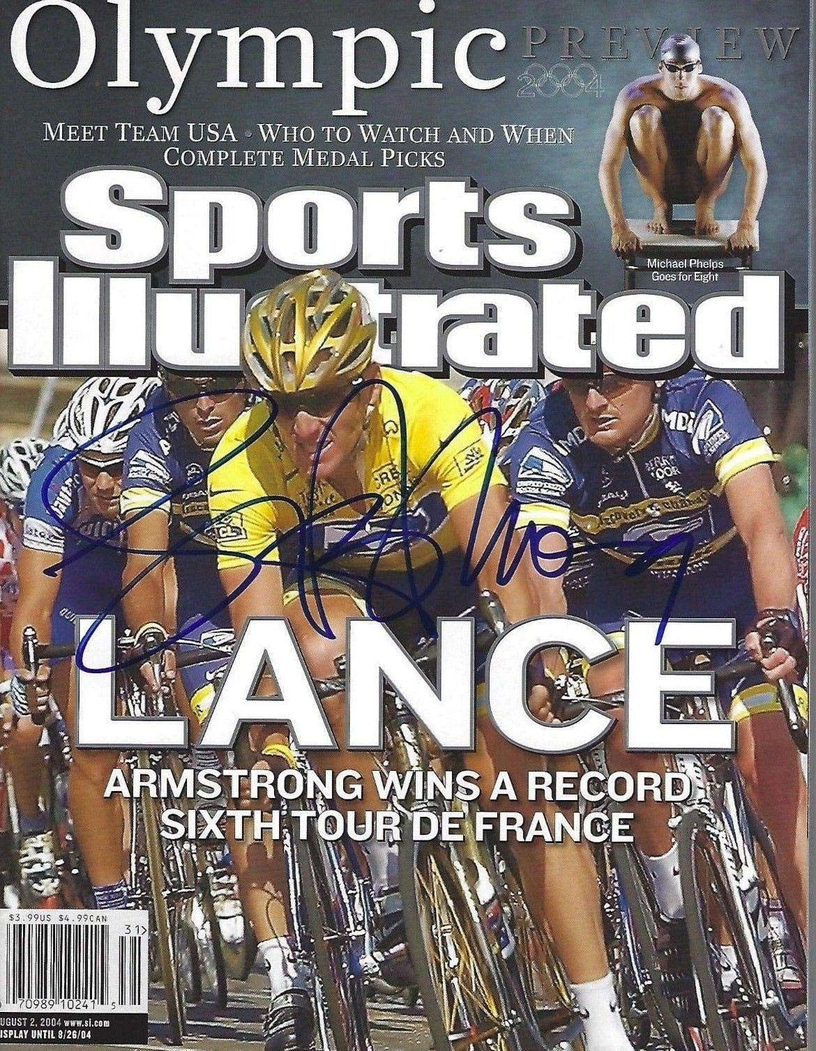 LANCE ARMSTRONG Signed 8/2/04 SPORTS ILLUSTRATED with Schwartz COA (NO LABEL) Autographed Sports Magazines