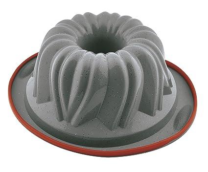 Jata Hogar Molde para roscón, modelo MC61, Silicona, Gris/Rojo, 21 cm