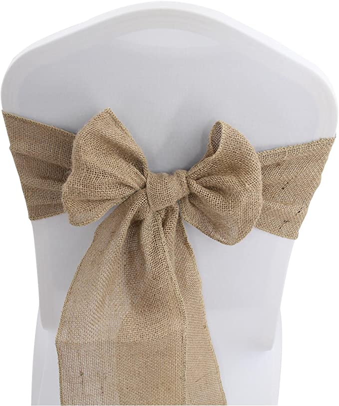 Jute Burlap Chair Sashes Bows - 50 PCS Natural Banquet Wedding Party Event Decoration Hessian Chair Ties (7