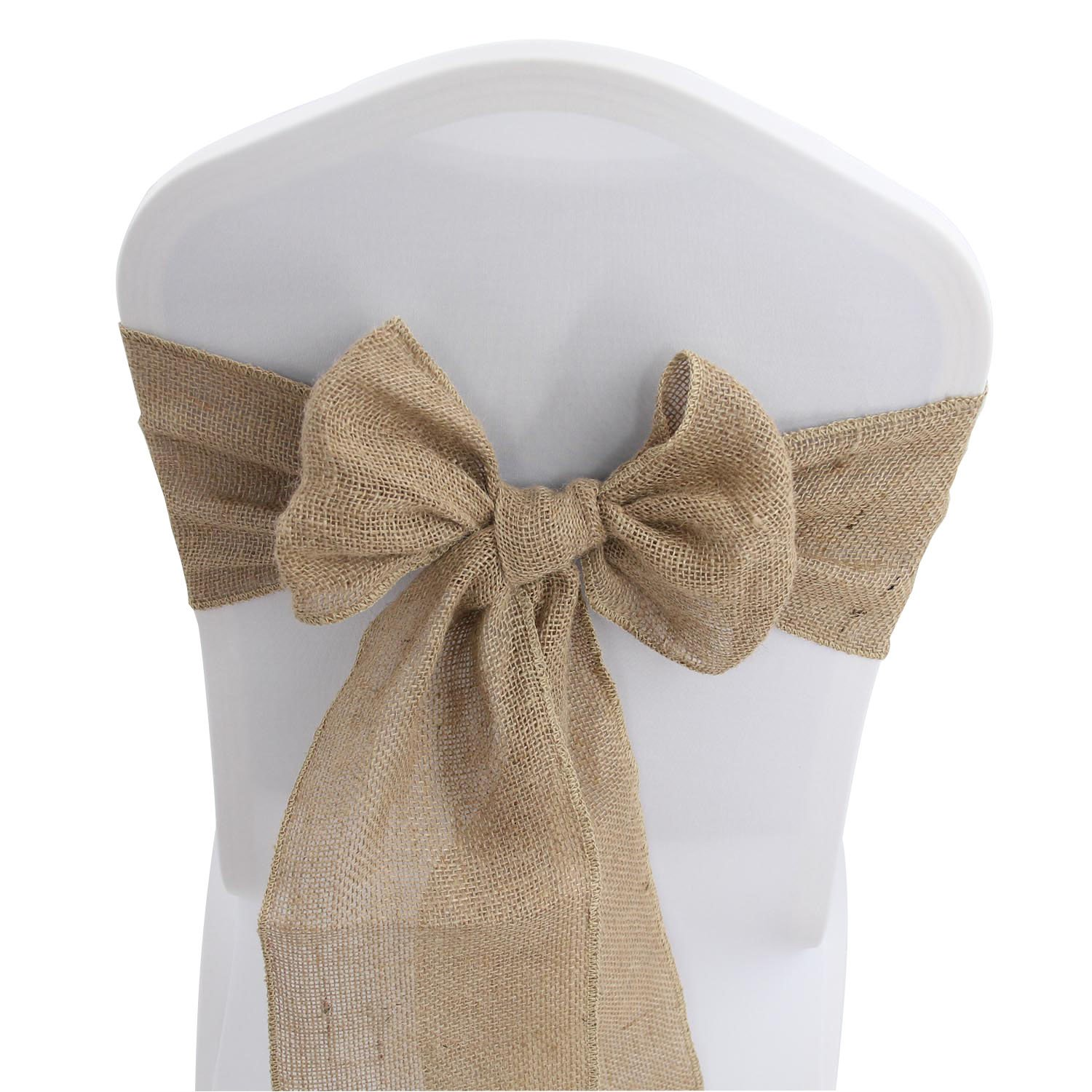 Burlap Hessian Chair Sashes Bows - 100 PCS Natural Banquet Wedding Party Event Decoration Chair Ties (7'' x 108'',100)