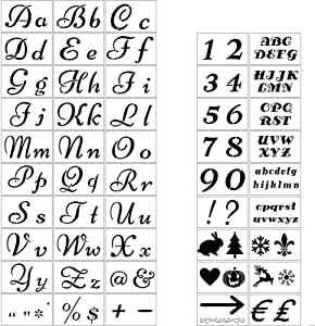 48 Pieces Letter Stencils for Painting on Wood Alphabet Stencil Templates Numbers and Signs Template 138 Designs Pattern Symbol Drawing Template for Door Wood Wall Rustic Home Porch DIY Decoration