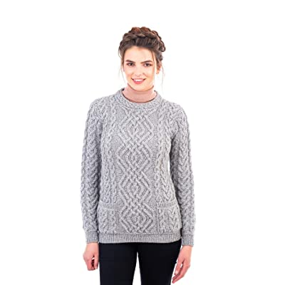 100% Merino Wool Irish Warm Cable Knit Women Crew Neck Fitted Sweater with Pockets in Grey/Natural/Navy Blue at Women's Clothing store