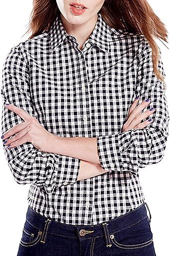 StyleDome - Camisa de manga larga para mujer, algodón, diseño casual a cuadros ajustado y con cuello negro y blanco: Amazon.es: Ropa y accesorios