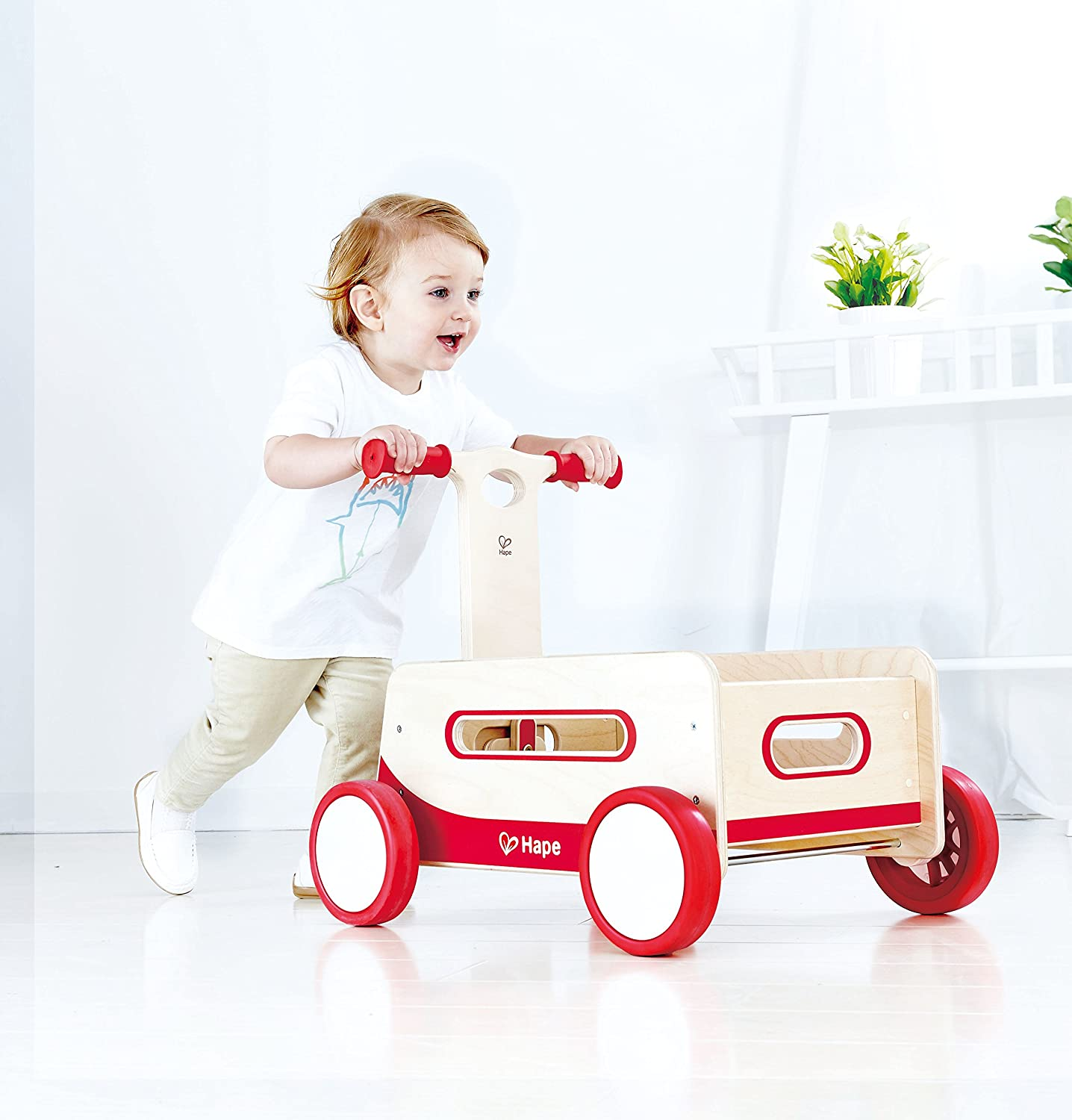 Hape Red Wonder Wagon Wooden Push and Pull Toddler Ride Wood