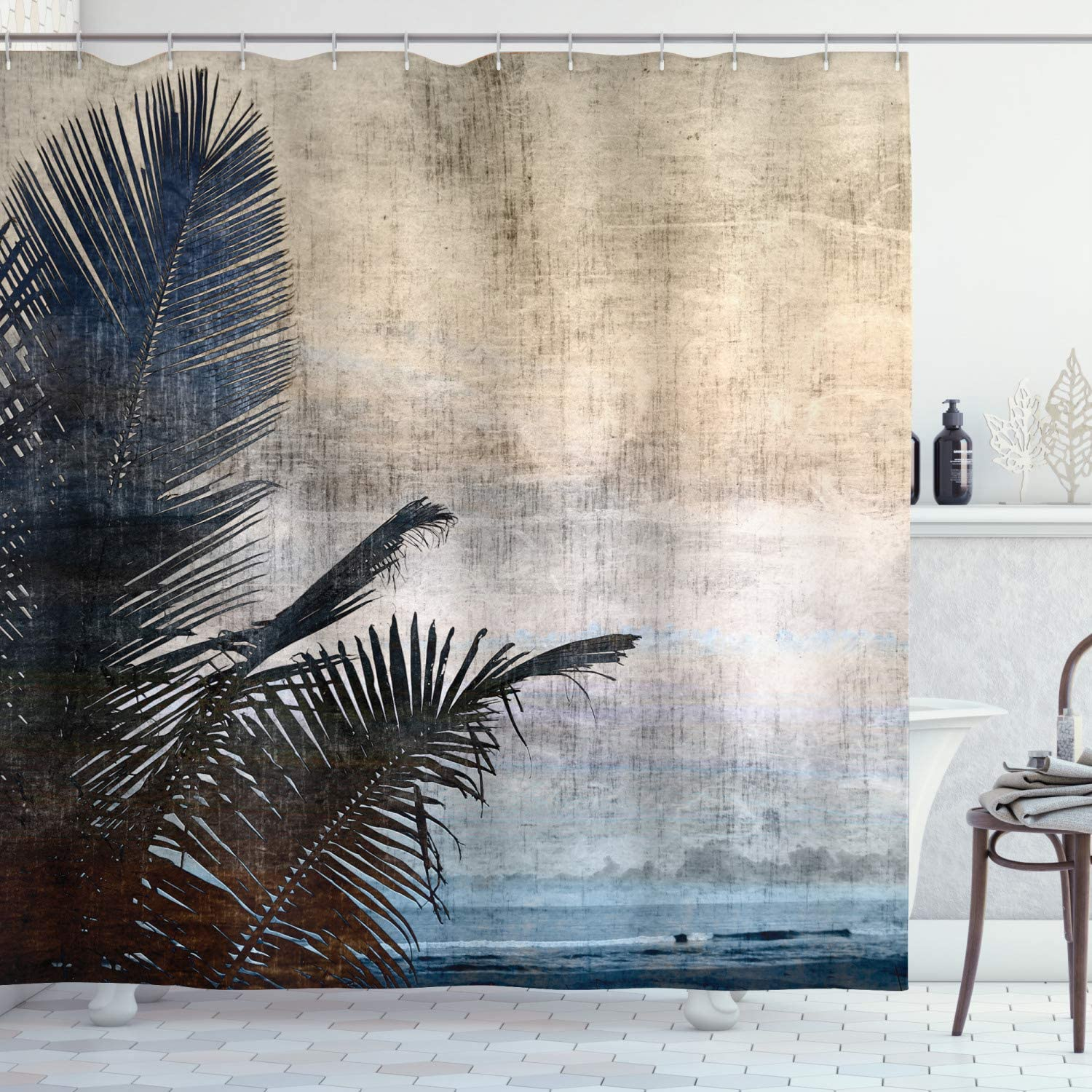 "Ambesonne Hawaiian Shower Curtain, Palm Tree Leaves on Grunge Background with Sea Vintage Waterscape Illustration, Cloth Fabric Bathroom Decor Set with Hooks, 84"" Long Extra, Beige Navy"