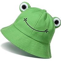Cute Frog Bucket Hats Cotton Fisherman Cap Summer Beach Sun Protection Cap for Adults