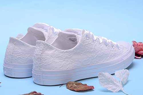 White Wedding Sneakers For Bride, Lace