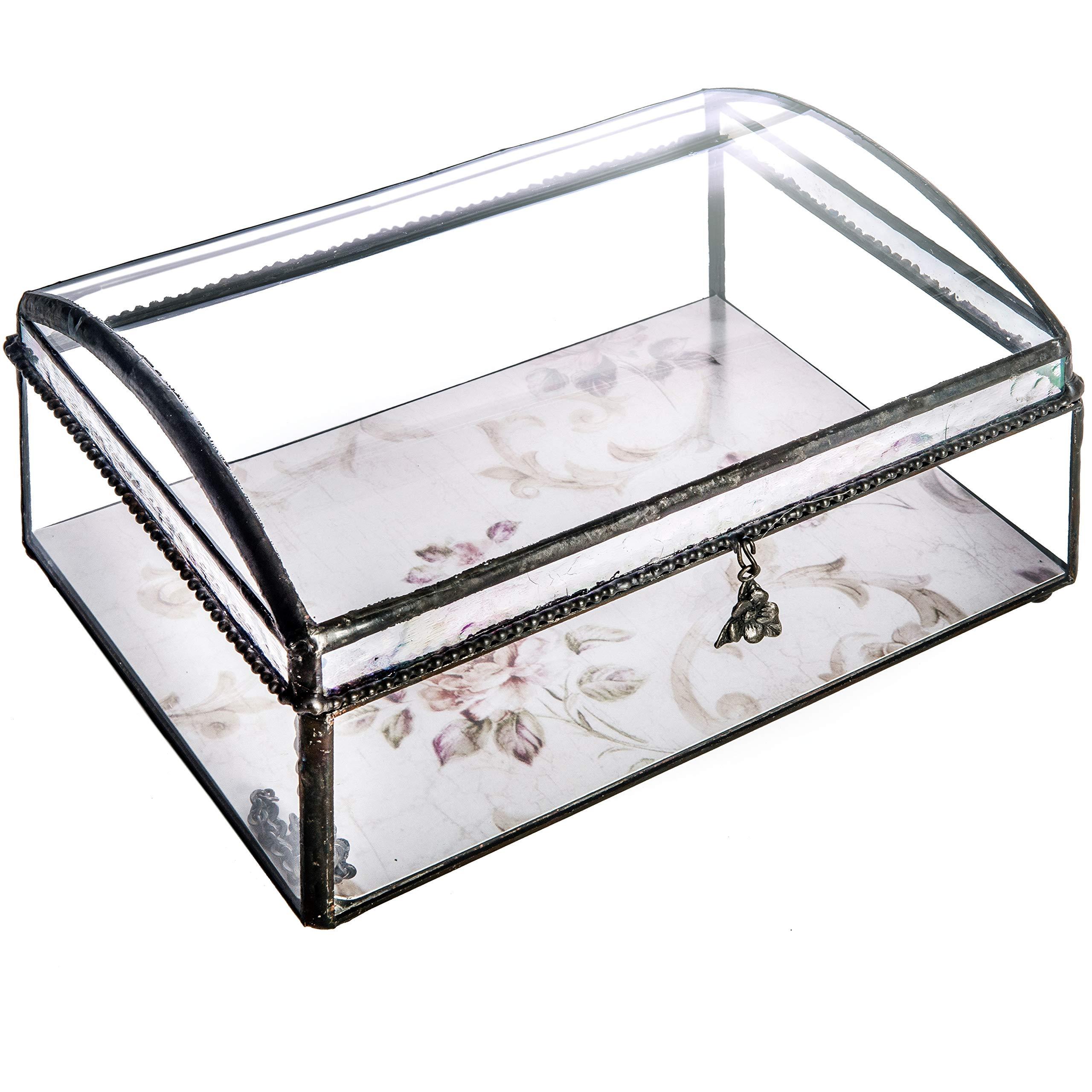 J Devlin Box 704 Clear Curved Glass Keepsake Box Wedding Invitation Display Remove and Replace Artwork