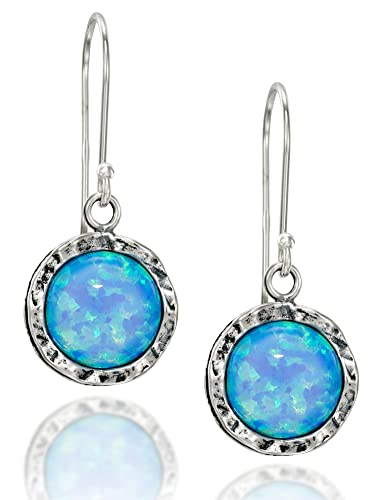 Shimmering Round 925 Sterling Silver and Created Blue Fire Opal Earrings v5EJ8NxW7