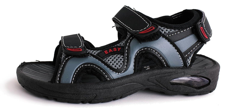 Toddler//Little Kid//Big Kid Easy USA Boys Hook and Loop Adjustable Closure Ankle Strap Sandals