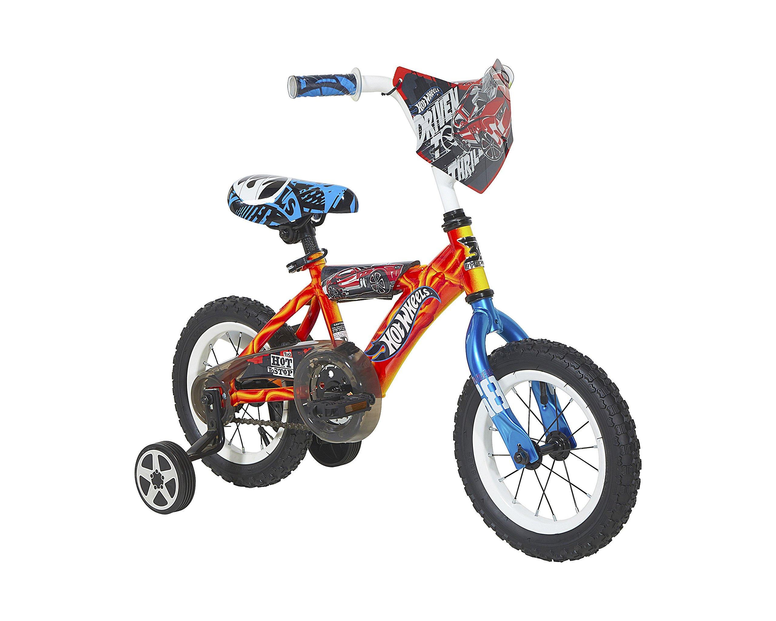 Hot Wheels Boys Dynacraft Bike with Turbospoke, 12'', Red/Blue/Black