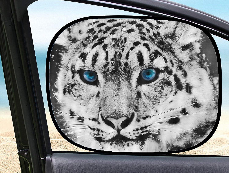 MSD Car Sun Shade for Side Window Block Sunlight UV Protector for Baby and Pet Image of cat Animal Zoo Wild Leopard Wildlife Mammal Predator Nature Carnivore White Feline Hunter Snow Fur