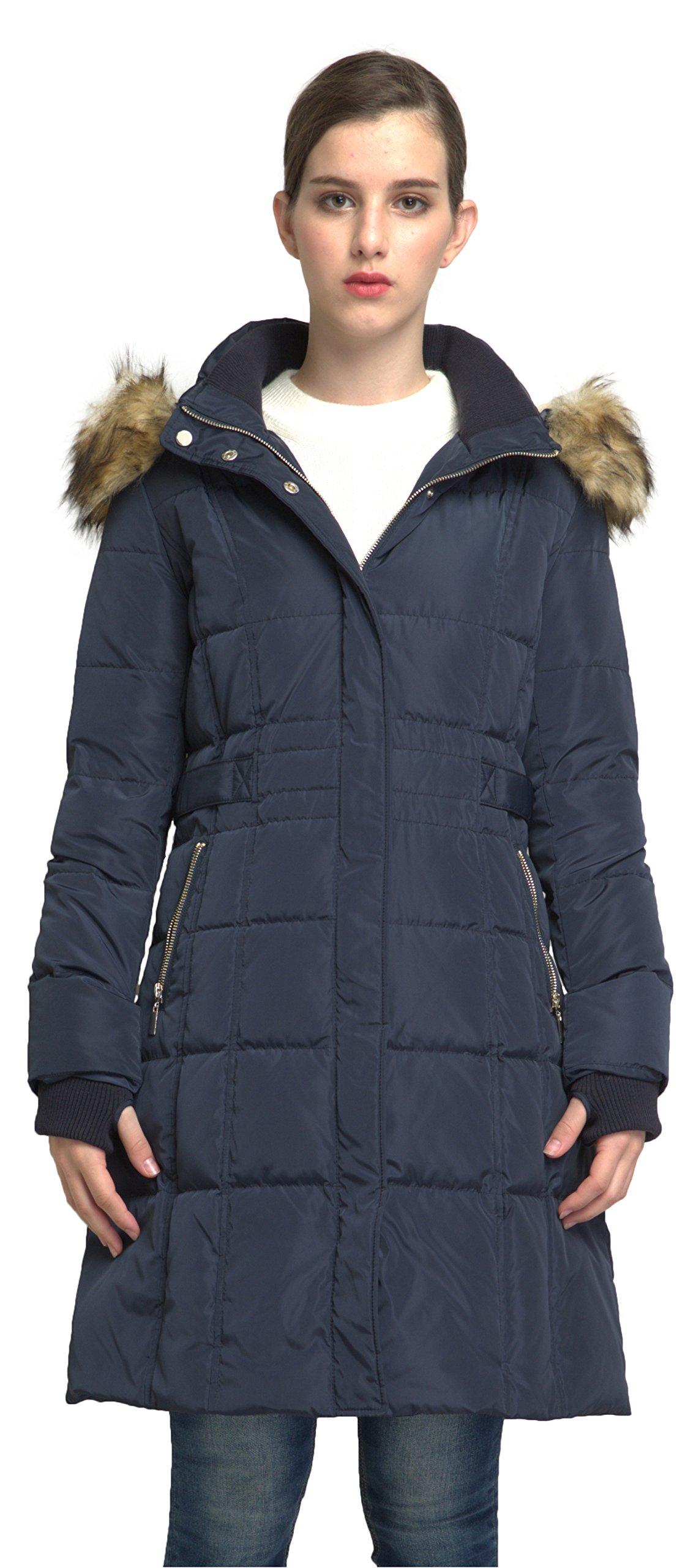 Orolay Women's Puffer Down Coat Winter Jacket with Faux Fur Trim Hood YRF8020Q Navy XL