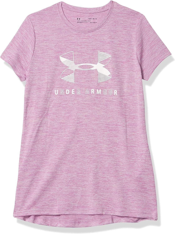 Under Armour Girls Big Logo Twist Short Sleeve Training Workout T-Shirt: Clothing