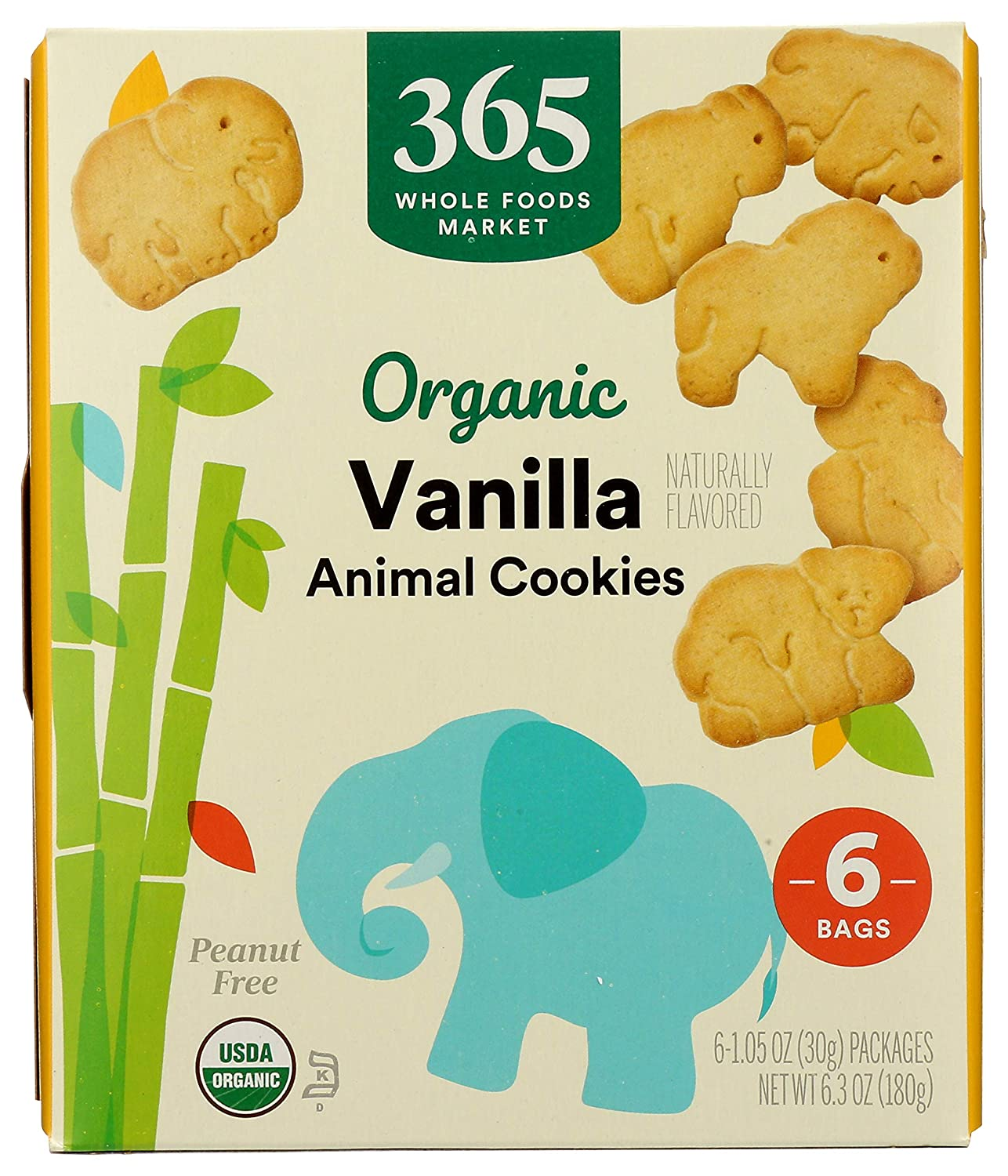 365 by Whole Foods Market, Organic Animal Crackers, Vanilla (6 - 1.5 Ounce Packagages), 6.3 Ounce