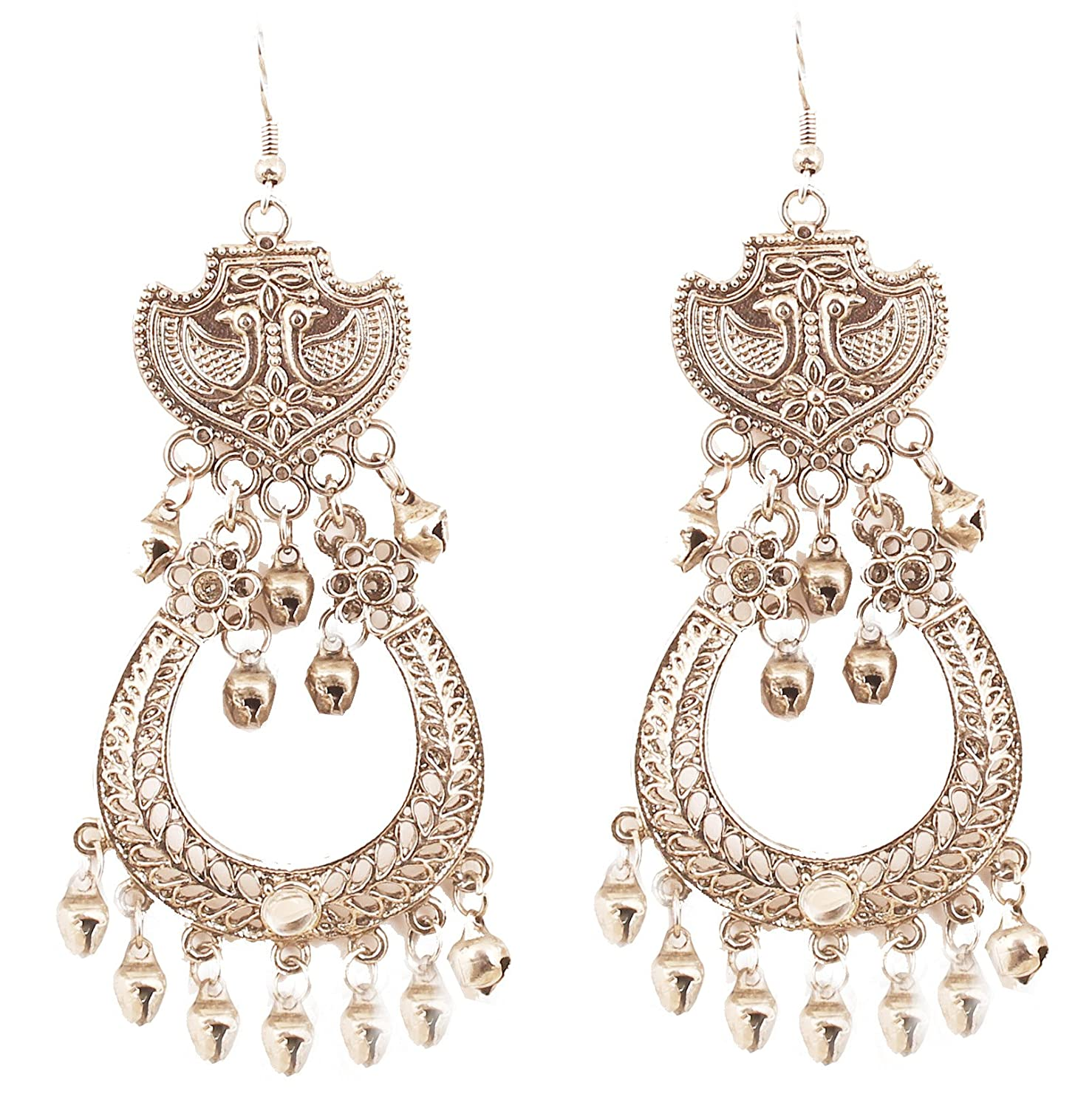 "NEW! Touchstone ""Tribal Bohemian Chic"" Indian Bollywood Ethnic Afghani Peacock Theme Fine Embossing Designer Jewelry Long Chandelier Earrings In Silver Tone For Women."