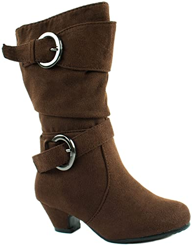 29d4b8f1986c4 Amazon.com | Link Baby Girls Pauline-18KA Nub Kitten Heel Boots with Buckles  | Boots