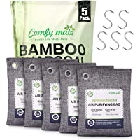 5 Pack Bamboo Charcoal Air Purifying Bags with Hooks,Charcoal Bags Odor Absorber for Home,Odor Eliminator,Closet…