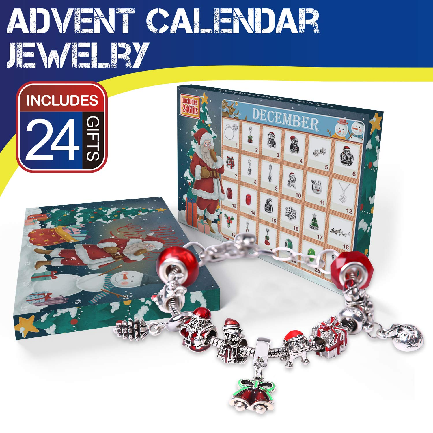 Christmas Advent Calendar 2018 Charm Bracelet 24 Days Countdown Calendars Jewelry Set for Kids/Childs New Year Gift - 1 Bracelet, 1 Necklace, 2 Pair Earrings, 20 DIY Charms Yun Nist