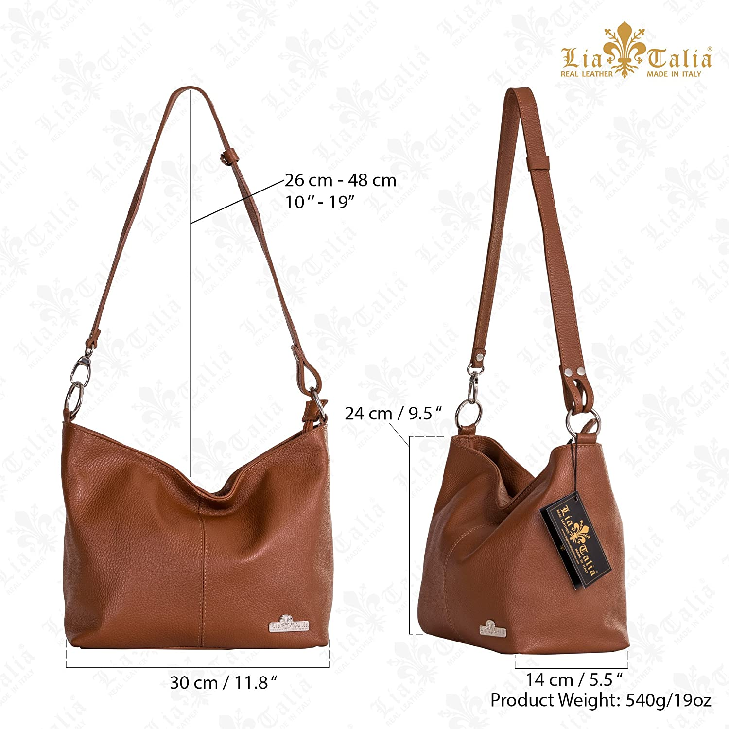 LIATALIA Womens Genuine Italian Leather Medium Size Shoulder Hobo Bag - Adjustable Long Strap Handbag - EMMY [Medium Tan] Medium Tan