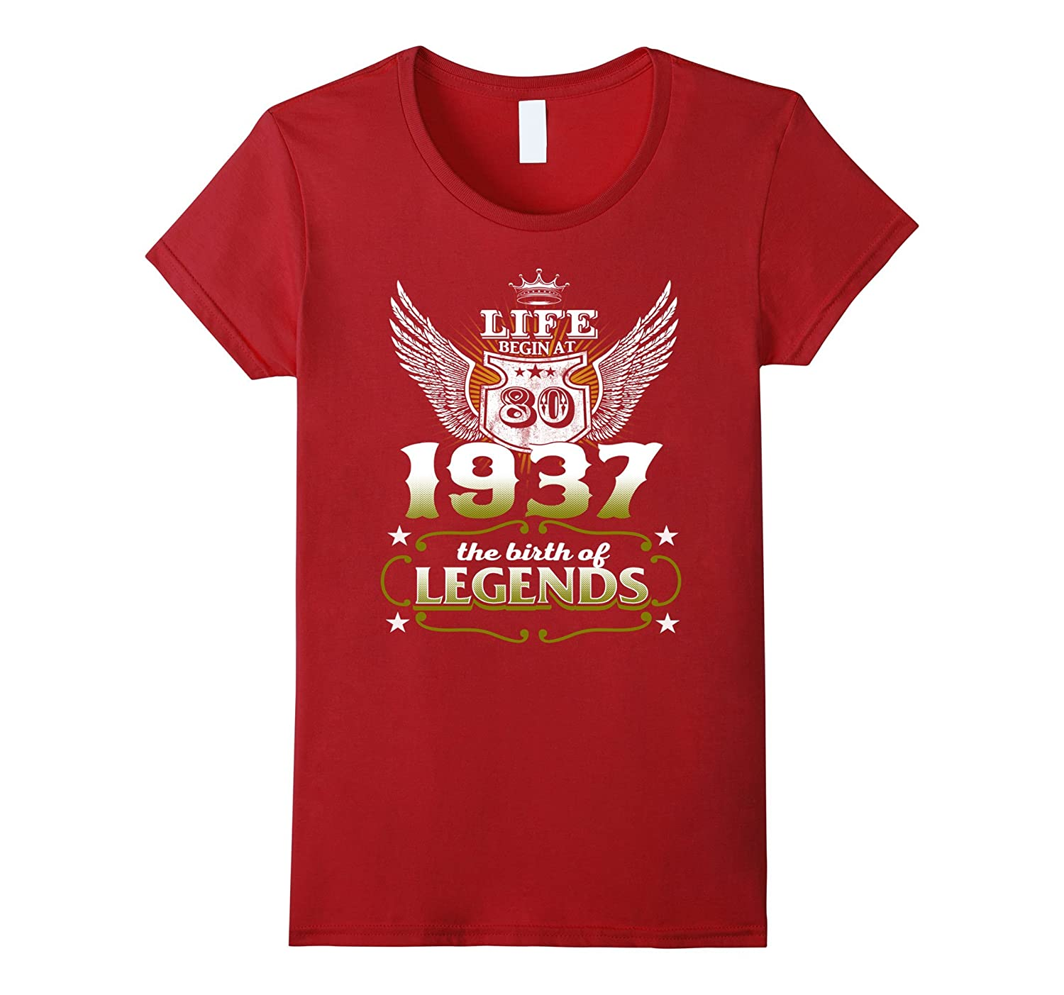 80th Birthday T-Shirt Made in 1937 Life Begins