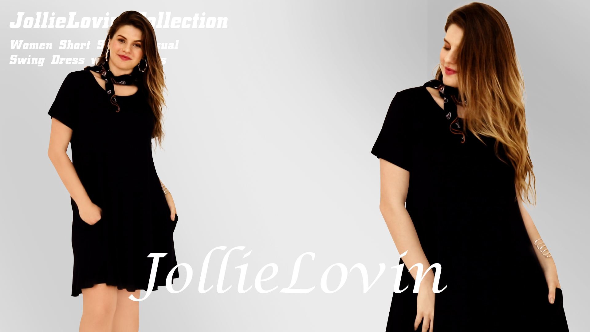 JollieLovin Women's Pockets Short Sleeve Casual Swing Loose Dress 5