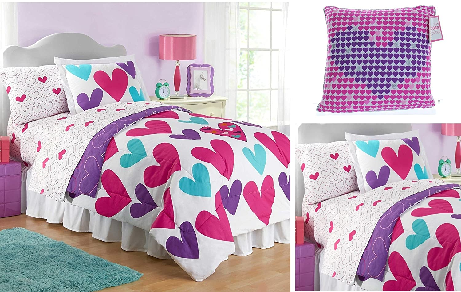 Girls FULL 100% Cotton Pink, Purple, Teal Hearts Comforter & Sheet Set + Decorative Pillow (8pc Bed in a Bag)