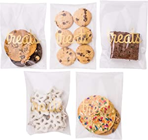 Sweet Details Party Co. Cellophane 'Treats' Bags {100 Pack} Gold & Clear Favors Goodie Bags- Treat & Cookie Bags for Wedding/Birthday Dessert Table & Candy Buffet- Self-Sealing & Resealable Adhesive!