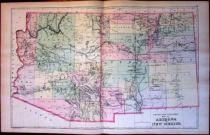 Amazon.com: Arizona New Mexico West U.S. c.1887 Bradley ...