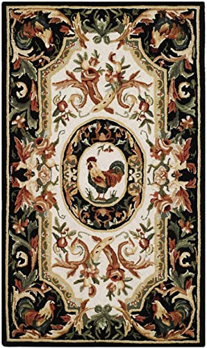 Safavieh Chelsea Collection HK48K Hand-Hooked Ivory and Black Premium Wool Area Rug 2 6 x 4
