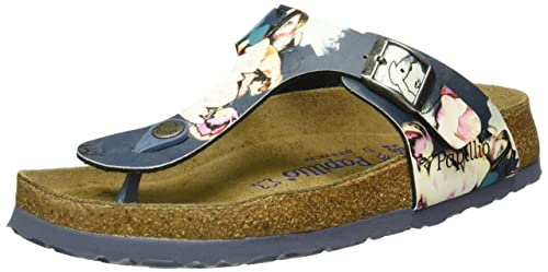 420fa3b617f8 Birkenstock Women s Papillio Gizeh Birko-Flor Thong Sandal Soft Footbed  (Painted Bloom Navy)
