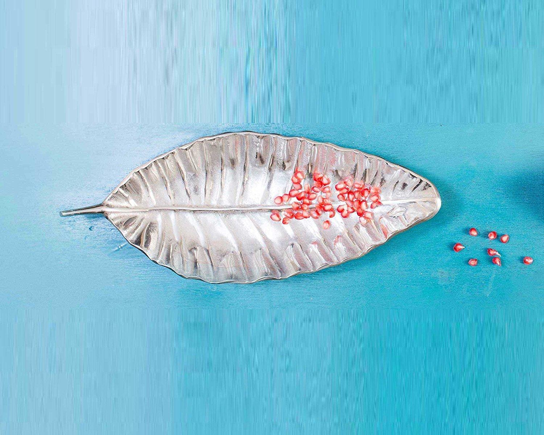 Sammsara Decorative Food Safe Palm Leaf Metal Platter serving plates for snacks,salads,center table or for decoration