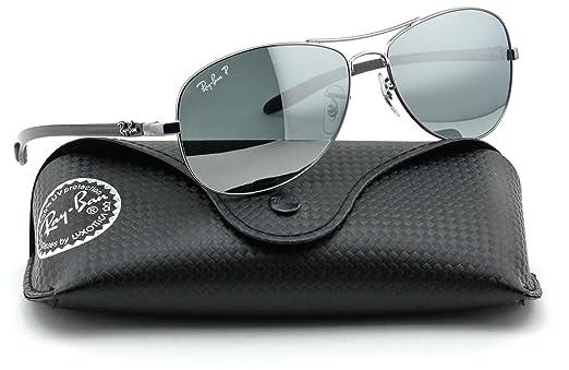 b2d21c7ac1 ... clearance ray ban rb8301 carbon fibre polarized aviator sunglasses  shiny gunmetal frame silver miror 18c66 1532e