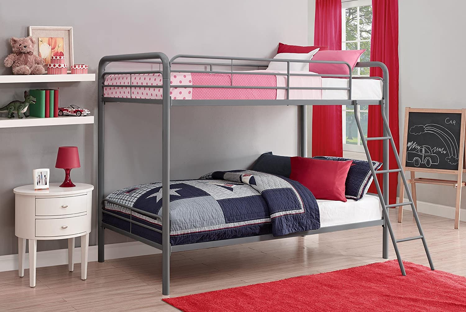 Amazon.com: DHP Twin Over Twin Bunk Bed With Metal Frame And Ladder,  Space Saving Design, Silver: Kitchen U0026 Dining