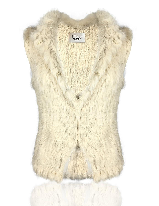 Uilor Women's natural rabbit fur knit vest Thick Warm 25002