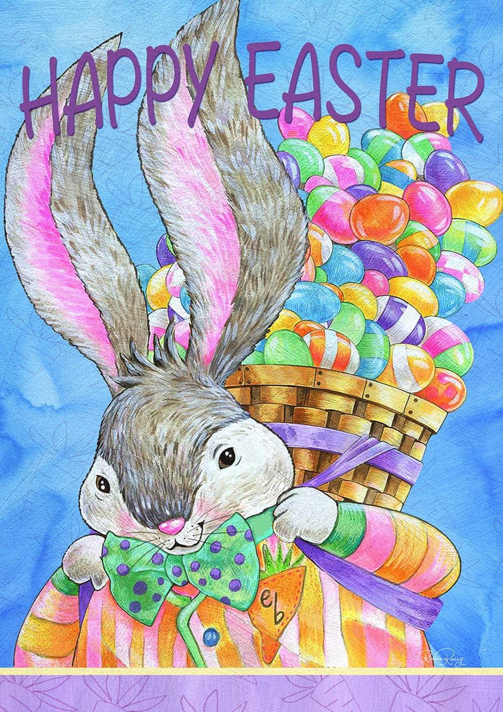 "Toland Home Garden 1012291 Easter Bunny Basket 28 x 40 Inch Decorative, House Flag (28"" x 40"")"