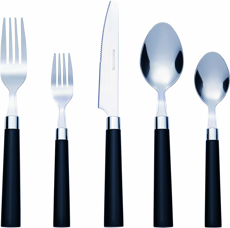 Dishwasher Safe Service for 4 Black Bon Florentine 20-Piece Stainless Steel Flatware Silverware Cutlery Set Include Knife//Fork//Spoon