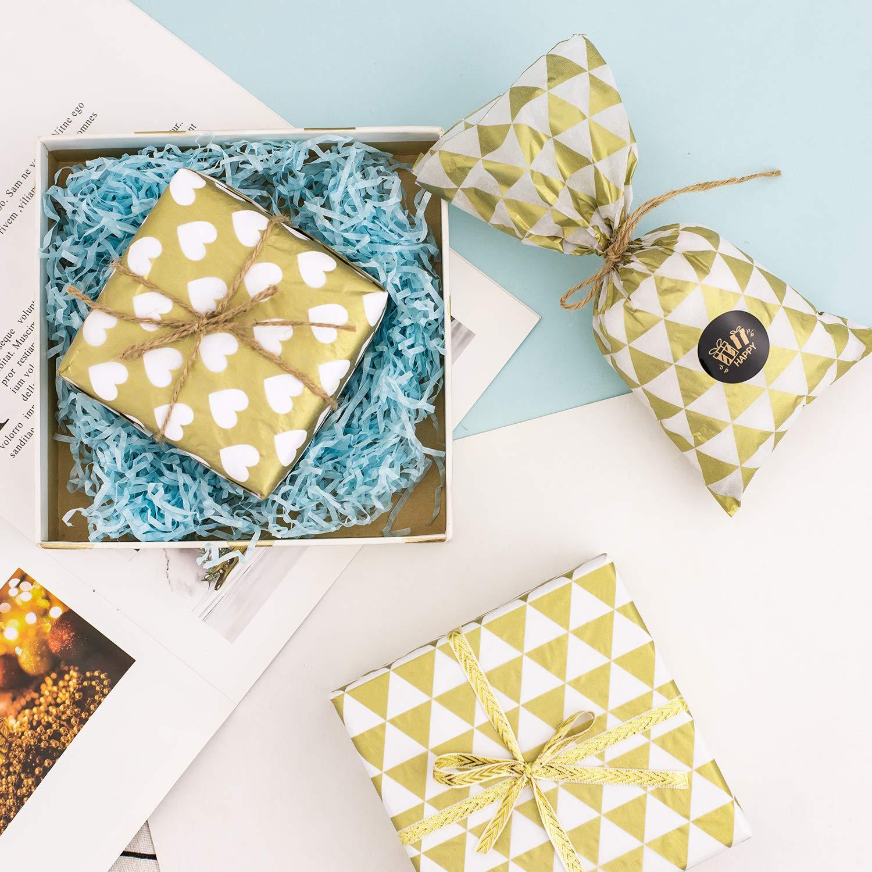 motif c/œur accessoire demballage cadeau triangle et carr/é d/écoration de f/ête 20 feuilles de chaque 3 motifs, Whaline Lot de 60 feuilles de papier de soie de No/ël m/étallis/é dor/é pour emballage cadeau