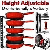 Height Adjustable Pan Organizer Rack, VDOMUS Pan and Pot Lid Holder Black Metal (Black)