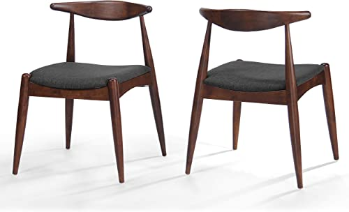 Christopher Knight Home Sandra Fabric Mid Century Modern Dining Chairs Set of 2 , Charcoal Walnut Finish