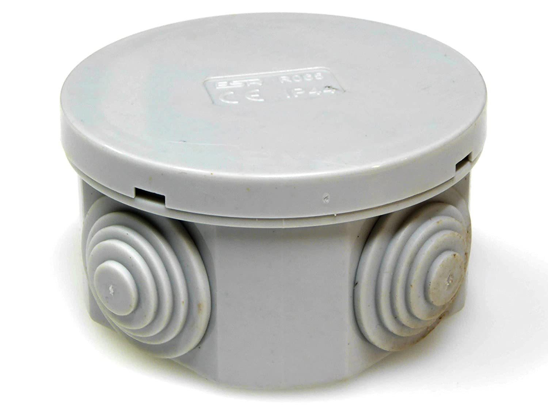 5 x IP44 caja de empalmes con caucho Radio Shack y fijaci/ón a presi/ón 65 x 35 mm redondo de iluminaci/ón tapa conexi/ón del cable se caja