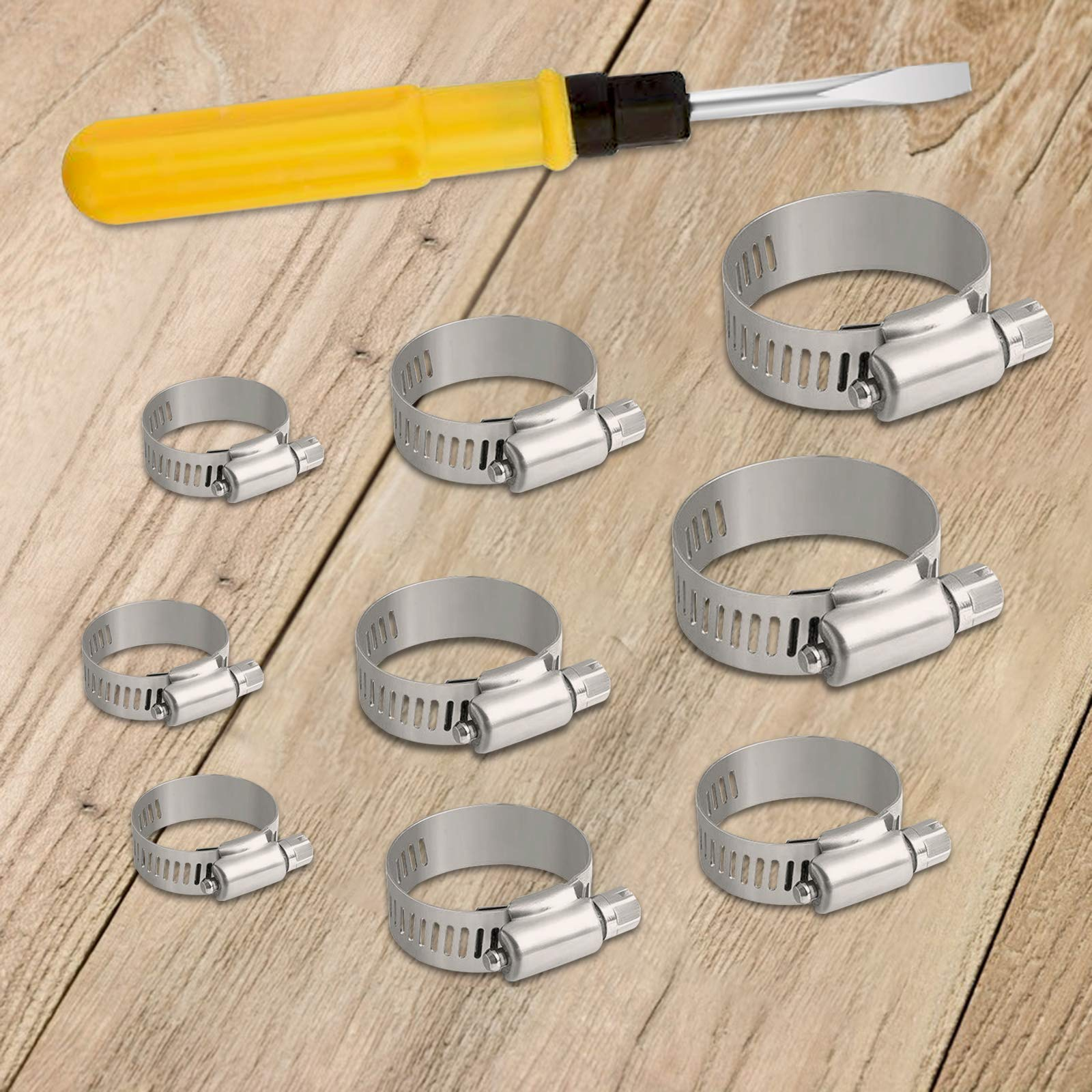 Matogle 24pcs Stainless Steel Hose Clips Adjustable Hose Clamps Jubilee Clip of Multi Size for Home Worm Drive Gear Gas Water Pipe Duct Tube with Screwdriver